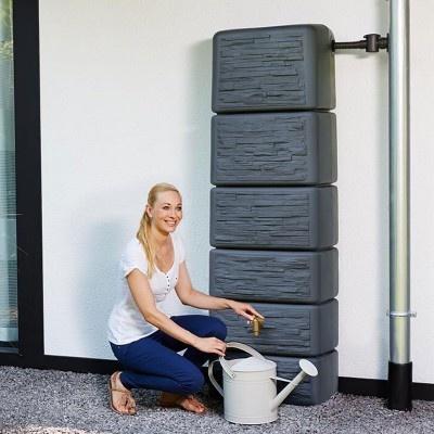 Záhradná plastová nádrž na dažďovú vodu SEINE 300 l, dekor kameň