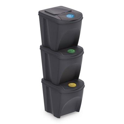 Sada 3 odpadkových košov  SORTIBOX, antracit