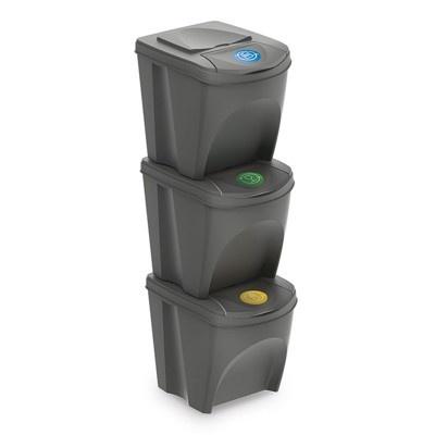 Sada 3 odpadkových košov SORTIBOX, šedý kameň
