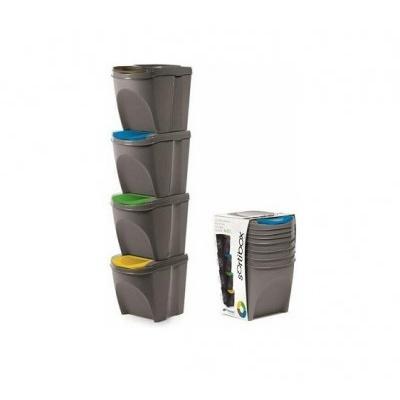 Sada 4 odpadkových košov SORTIBOX šedý kameň