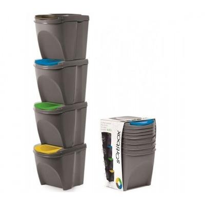 Sada 4 odpadkových košov SORTIBOX, šedý kameň