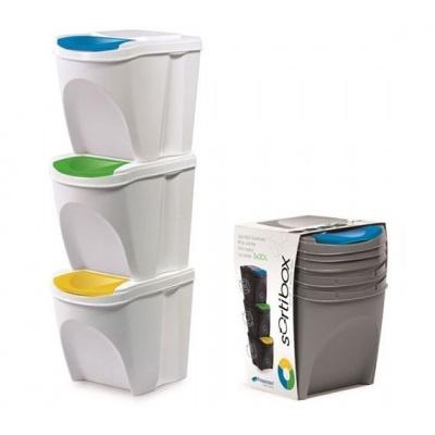 Sada 3 odpadkových košov SORTIBOX, biela
