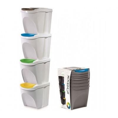 Sada 4 odpadkových košov SORTIBOX, biela