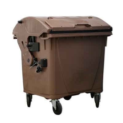 Plastový kontajner 1100 l veko vo veku, hnedý