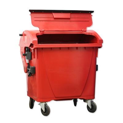 Plastový kontejner 1100 l veko vo veku, červený