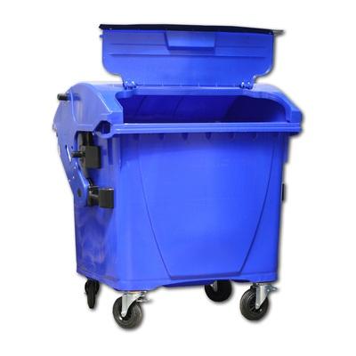 Plastový kontejner 1100 l veko vo veku, modrý